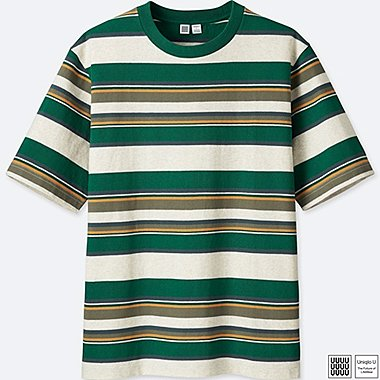 Herren U 100% Baumwoll Gestreiftes T-Shirt