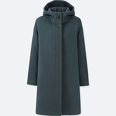 WOMEN WOOL BLEND LIGHTWEIGHT HOODED COAT