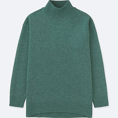 WOMEN PREMIUM LAMBSWOOL HIGH-NECK TUNIC, GREEN, medium
