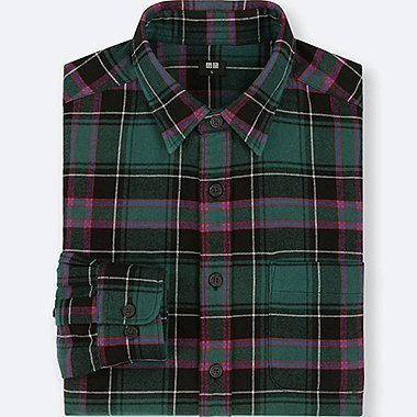 MEN FLANNEL REGULAR FIT CHECKED SHIRT (REGULAR COLLAR)