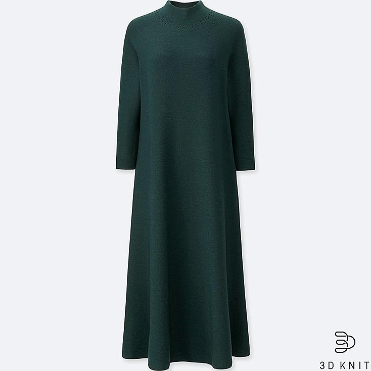 WOMEN 3D MERINO MOCK NECK LONG-SLEEVE DRESS, GREEN, large