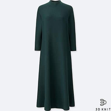 WOMEN 3D MERINO MOCK NECK LONG-SLEEVE DRESS, GREEN, medium
