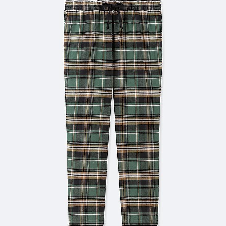 MEN FLANNEL EASY PANTS, GREEN, large