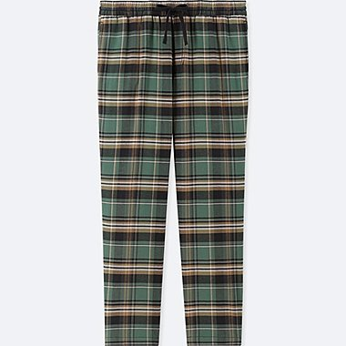 MEN EASY FLANNEL STRIPED CHECKED TROUSERS