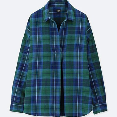 WOMEN FLANNEL CHECKED SKIPPER LONG-SLEEVE SHIRT, GREEN, medium