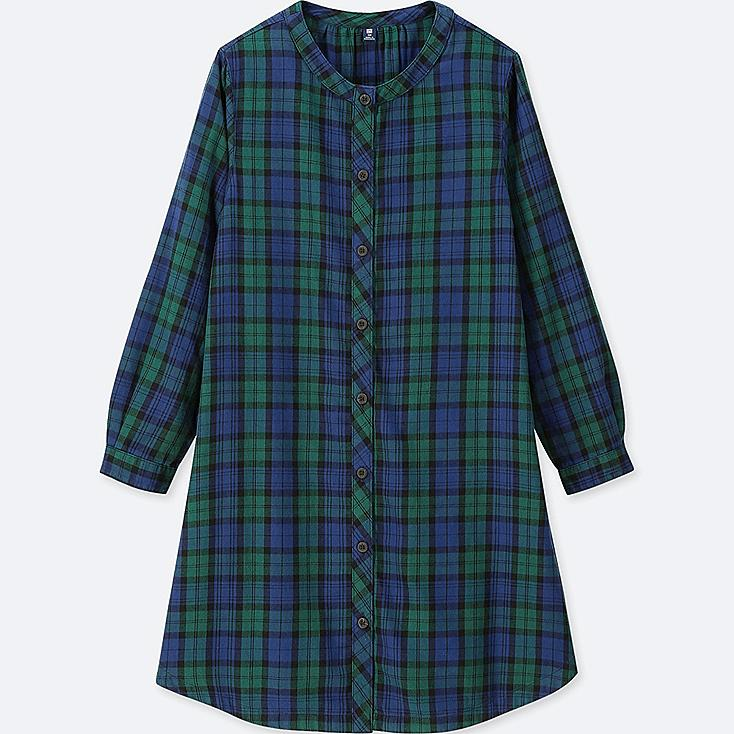 GIRLS FLANNEL CHECKED LONG-SLEEVE DRESS, GREEN, large
