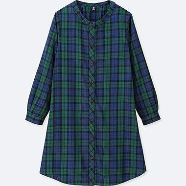 GIRLS FLANNEL CHECKED LONG-SLEEVE DRESS, GREEN, medium