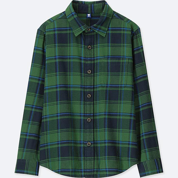 BOYS FLANNEL CHECKED LONG-SLEEVE SHIRT, GREEN, large