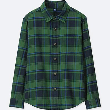 BOYS FLANNEL CHECKED LONG-SLEEVE SHIRT, GREEN, medium