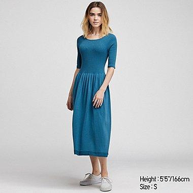 WOMEN 3D COTTON RIBBED HALF SLEEVE DRESS, GREEN, medium