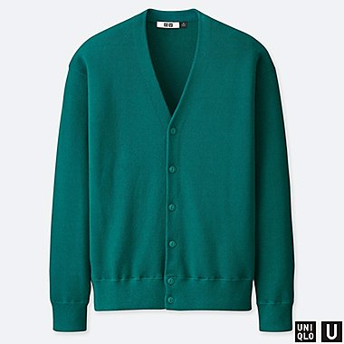 MEN U COTTON BLENDED V-NECK LONG-SLEEVE CARDIGAN, GREEN, medium