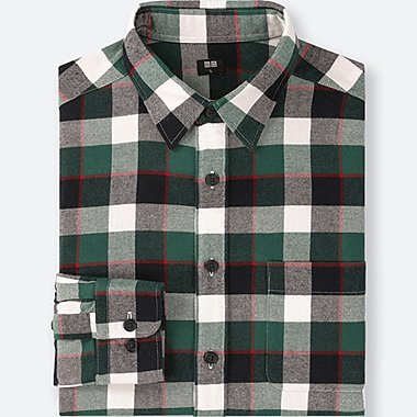 MEN FLANNEL CHECKED LONG-SLEEVE SHIRT, GREEN, medium