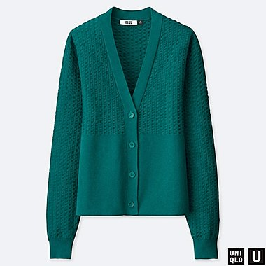 WOMEN U COTTON BALLOON SLEEVE CARDIGAN, GREEN, medium
