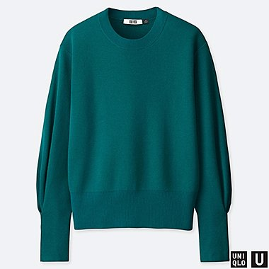 WOMEN U MILANO RIBBED RELAXED CREW NECK SWEATER, GREEN, medium