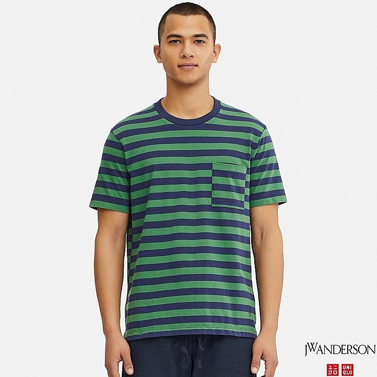 MEN ASYMMETRIC STRIPED SHORT-SLEEVE T-SHIRT (JW Anderson), GREEN, large