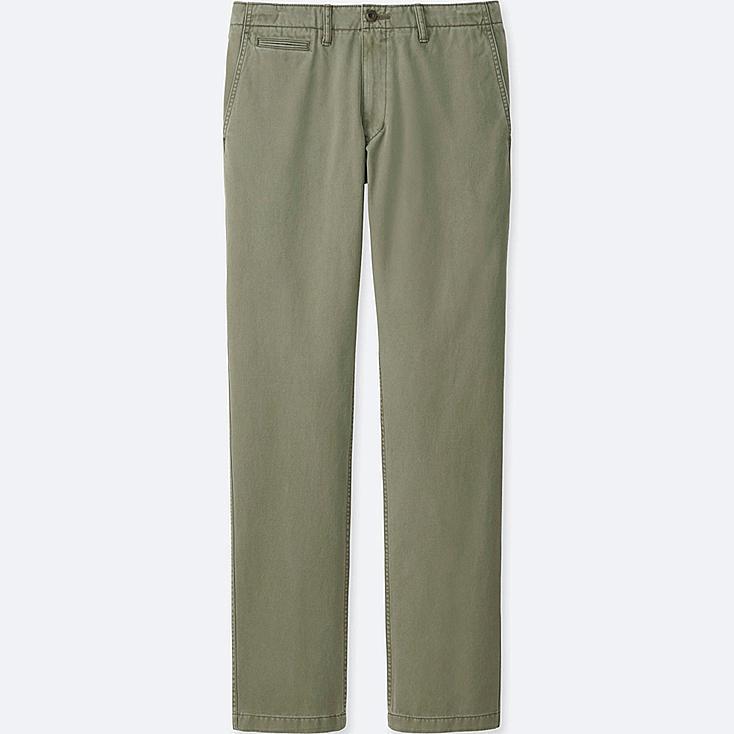 Men Vintage Regular Fit Chino Flat Front Pants, OLIVE, large