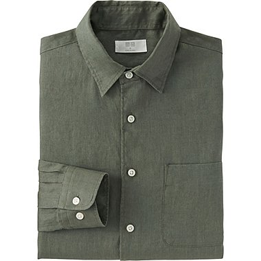 Mens Premium Linen Long Sleeve Shirt, OLIVE, medium