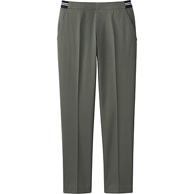 Womens Satin Ankle Pants, OLIVE, medium