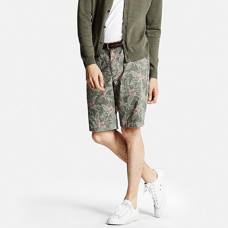 Men Chino Shorts, OLIVE, large