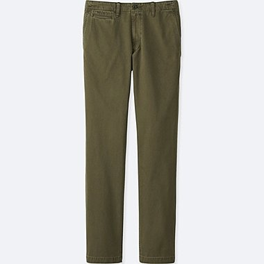 MEN VINTAGE REGULAR FIT CHINO FLAT FRONT PANTS, OLIVE, medium