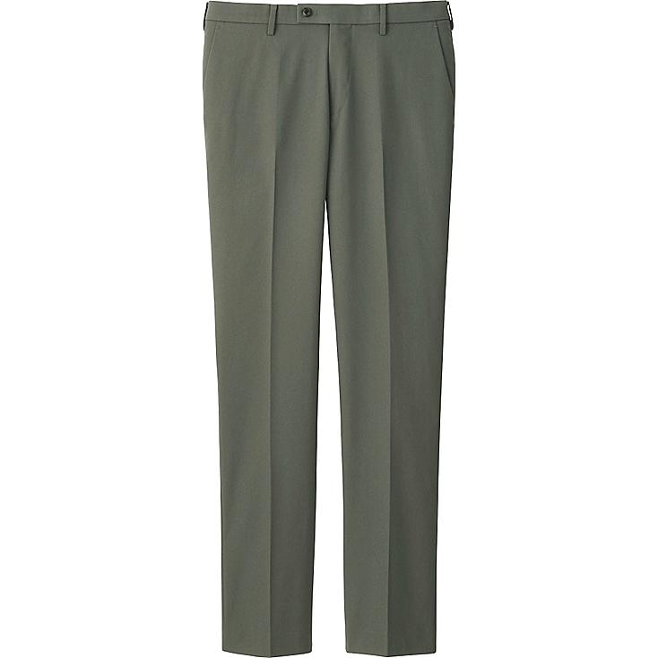 MEN STRETCH SLIM-FIT FLAT FRONT PANTS, OLIVE, large