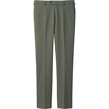 MEN STRETCH SLIM-FIT FLAT FRONT PANTS, OLIVE, medium