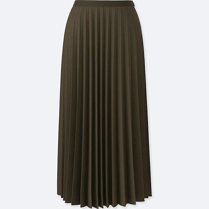 WOMEN PLEATED MIDI SKIRT, OLIVE, large