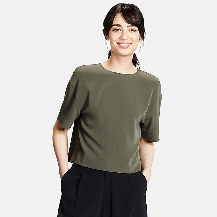 Women Boxy T-Blouse, OLIVE, large