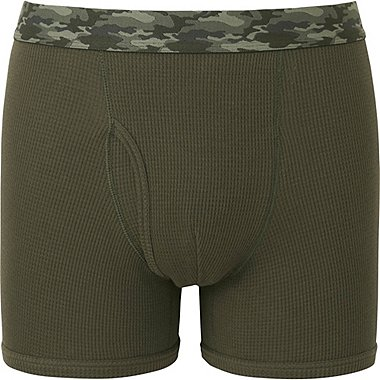 MEN SUPIMA COTTON WAFFLE BOXER BRIEFS, OLIVE, medium