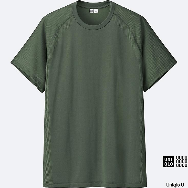 MEN U DRY-EX SHORT SLEEVE CREW NECK T-SHIRT, OLIVE, large