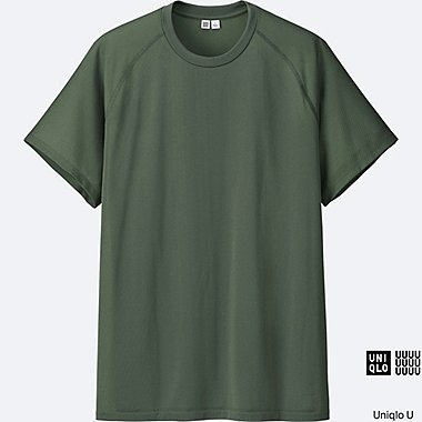 MEN U DRY-EX SHORT SLEEVE CREW NECK T-SHIRT, OLIVE, medium