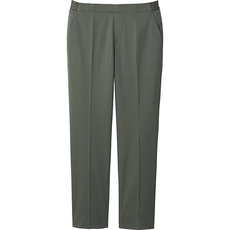 WOMEN SATIN ANKLE LENGTH PANTS, OLIVE, large