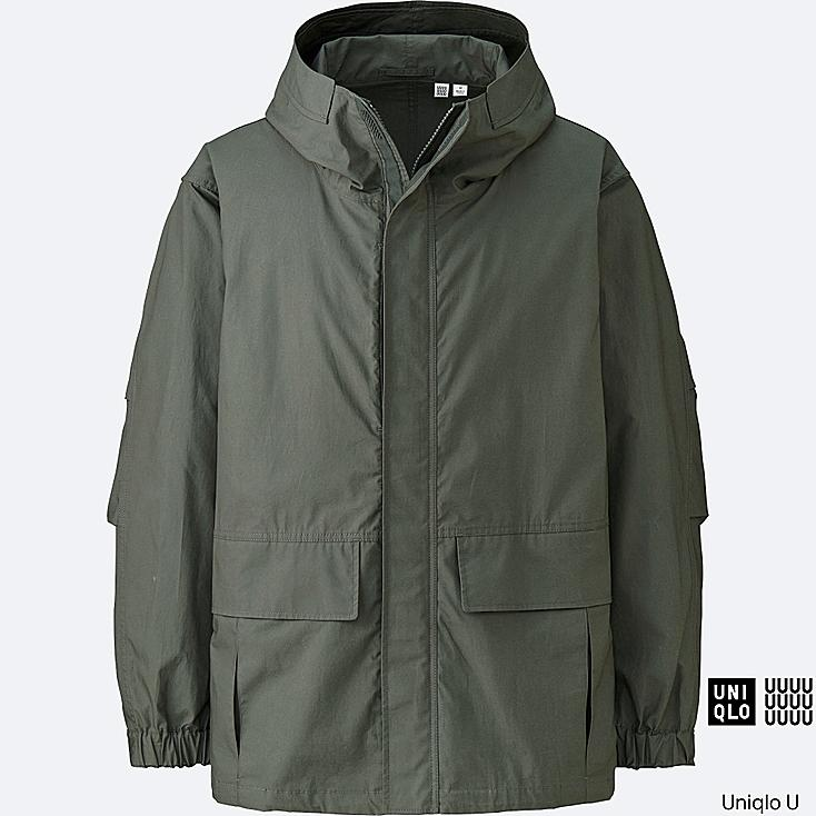MEN U COTTON PARKA, OLIVE, large