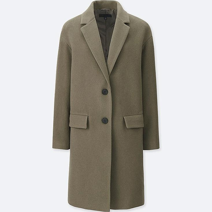 WOMEN SOFT WOOL BLEND TAILORED COAT, OLIVE, large