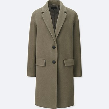 WOMEN SOFT WOOL BLEND TAILORED COAT, OLIVE, medium