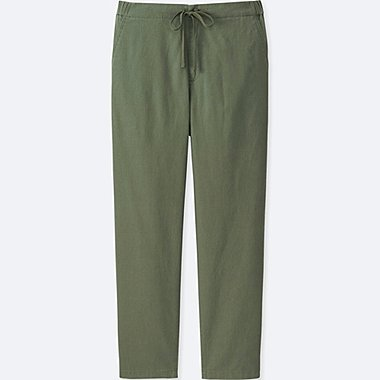 WOMEN COTTON LINEN RELAXED PANTS, OLIVE, medium