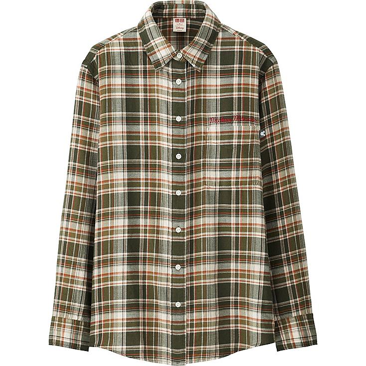 WOMEN Disney Project FLANNEL LONG-SLEEVE SHIRT, OLIVE, large