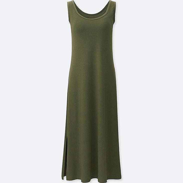WOMEN SLEEVELESS LONG BRA DRESS, OLIVE, large