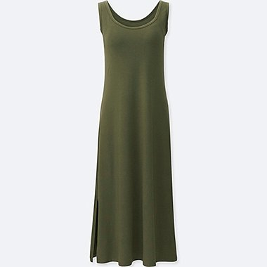 WOMEN SLEEVELESS LONG BRA DRESS, OLIVE, medium