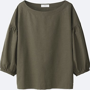 WOMEN COTTON LINEN 3/4 SLEEVE T BLOUSE, OLIVE, medium