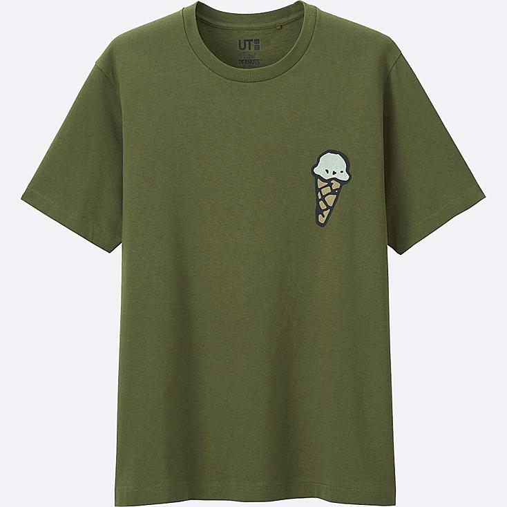 MEN PEANUTS SHORT SLEEVE GRAPHIC T-SHIRT, OLIVE, large