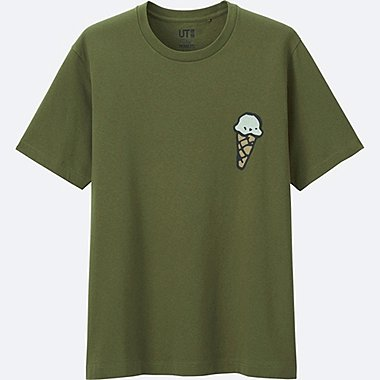 MEN PEANUTS SHORT SLEEVE GRAPHIC T-SHIRT, OLIVE, medium