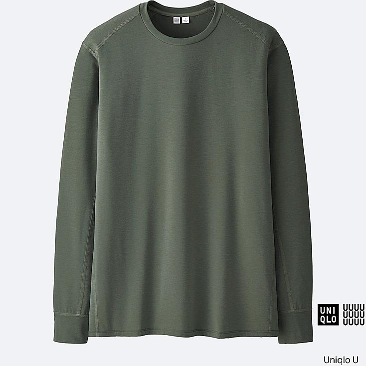 MEN U DRY LONG-SLEEVE CREWNECK T-SHIRT, OLIVE, large
