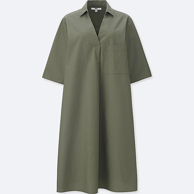 WOMEN CRISP COTTON A LINE SHIRT DRESS | UNIQLO US