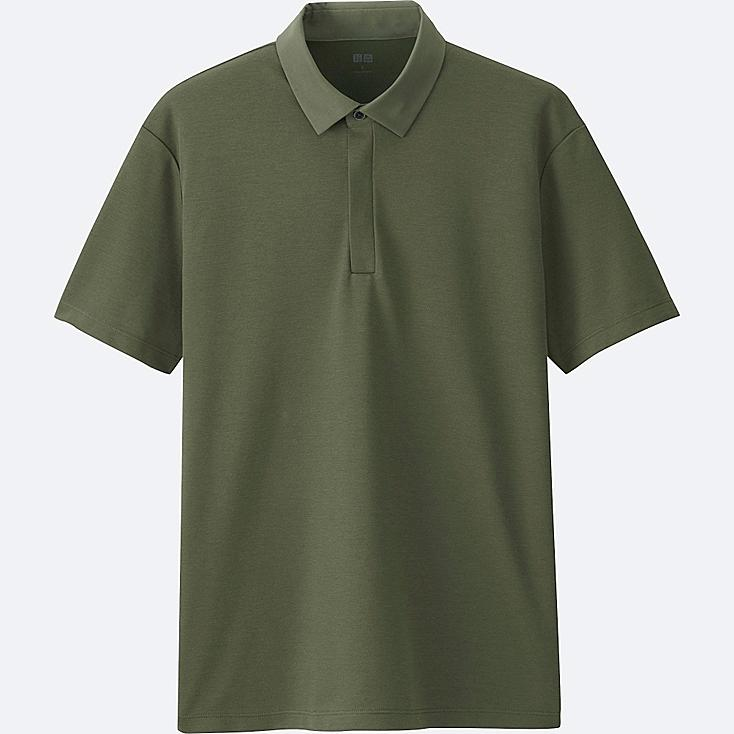 MEN DRY COMFORT SHIRT COLLAR POLO SHIRT, OLIVE, large