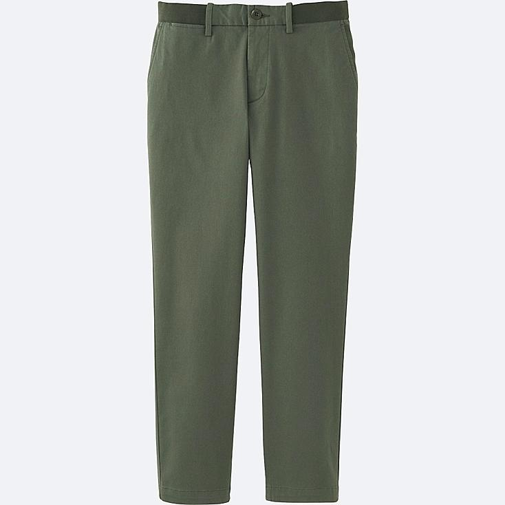 MEN RELAXED ANKLE PANTS (COTTON), OLIVE, large
