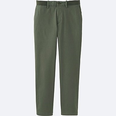 MEN RELAXED ANKLE PANTS (COTTON), OLIVE, medium