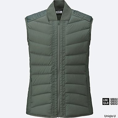WOMEN U ULTRA LIGHT DOWN VEST, OLIVE, medium
