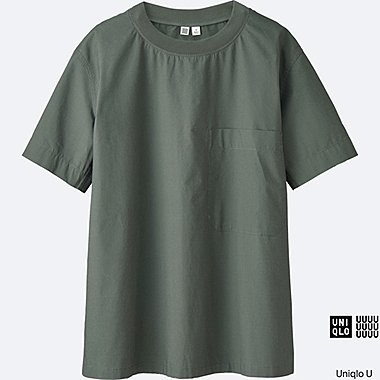 WOMEN U COTTON SHORT SLEEVE T BLOUSE, OLIVE, medium