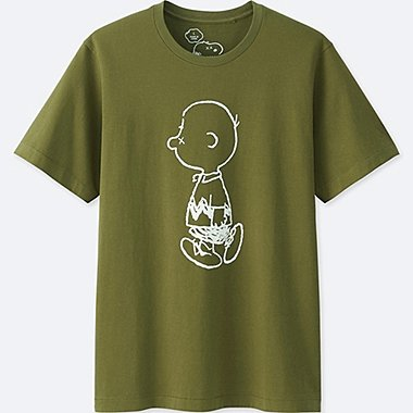 MEN KAWS X PEANUTS SHORT-SLEEVE GRAPHIC T-SHIRT, OLIVE, medium